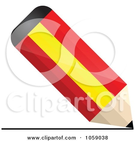 Royalty-Free Vector Clip Art Illustration of a 3d Spain Flag Pencil Drawing A Line by Andrei Marincas