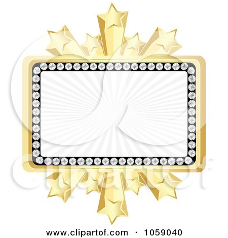 Royalty-Free Vector Clip Art Illustration of a Banner Bordered In Diamonds And Gold Stars by Andrei Marincas