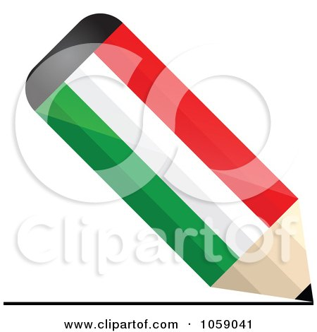 Royalty-Free Vector Clip Art Illustration of a 3d Hungary Flag Pencil Drawing A Line by Andrei Marincas