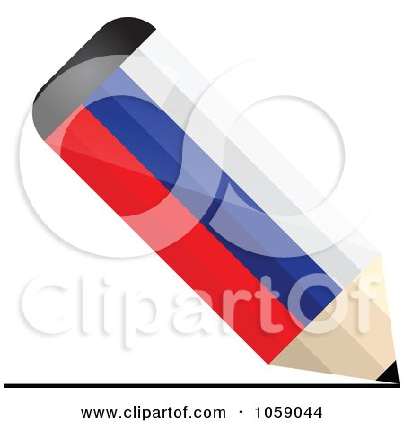 Royalty-Free Vector Clip Art Illustration of a 3d Russia Flag Pencil Drawing A Line by Andrei Marincas