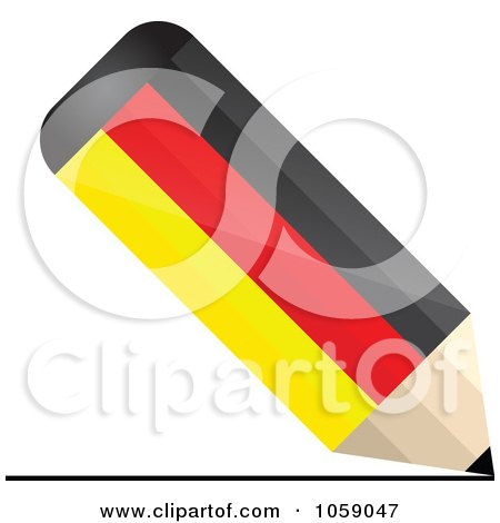 Royalty-Free Vector Clip Art Illustration of a 3d German Flag Pencil Drawing A Line by Andrei Marincas