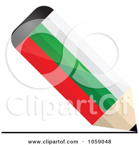 Royalty-Free Vector Clip Art Illustration of a 3d Bulgaria Flag Pencil Drawing A Line by Andrei Marincas