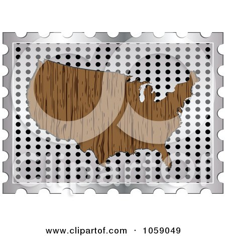 Royalty-Free Vector Clip Art Illustration of a Wood Grain American Map On A Silver Grate by Andrei Marincas