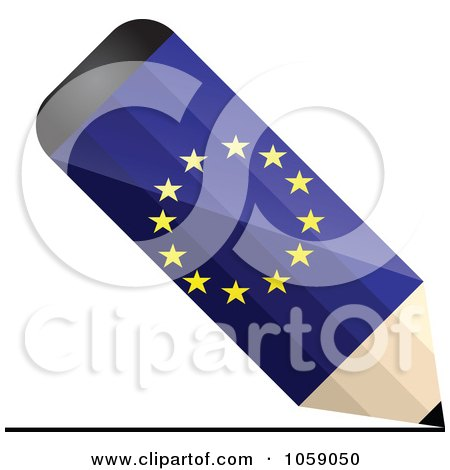 Royalty-Free Vector Clip Art Illustration of a 3d Europe Flag Pencil Drawing A Line by Andrei Marincas