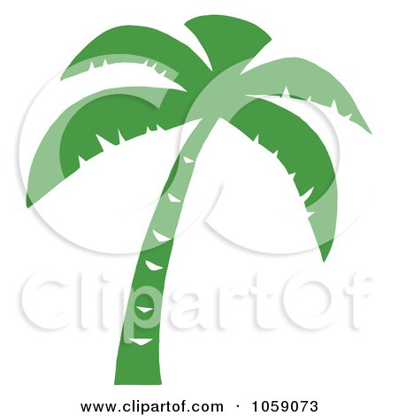 Royalty-Free Vector Clip Art Illustration of a Palm Tree Silhouette In Green by Hit Toon