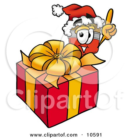 Clipart Picture of a Paint Brush Mascot Cartoon Character Standing by a Christmas Present by Toons4Biz