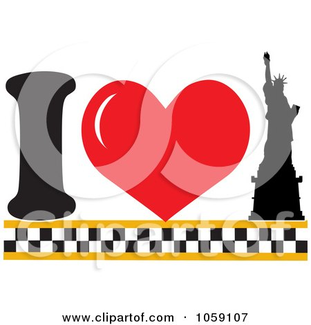 Royalty-Free Vector Clip Art Illustration of a Heart And Statue Of Liberty Meaning I Love New York by Maria Bell