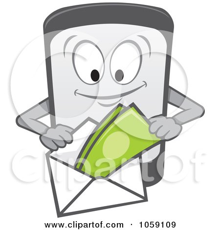 Royalty-Free Vector Clip Art Illustration of a Cell Phone Character Making A Payment by Any Vector