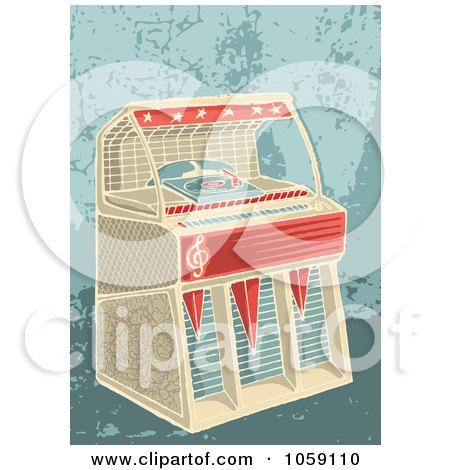 Royalty-Free Vector Clip Art Illustration of a Retro Jukebox On A Grungy Background by Any Vector