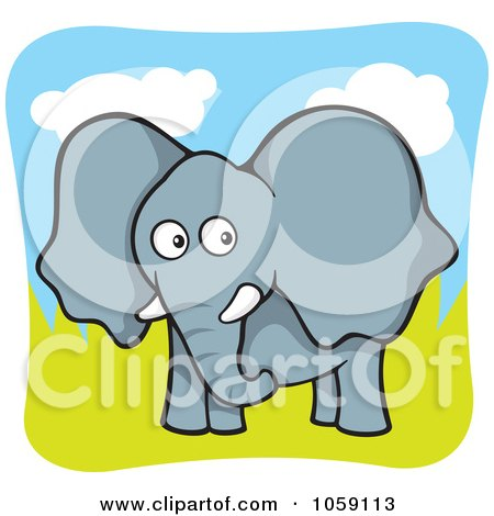 Royalty-Free Vector Clip Art Illustration of a Curious Elephant In A Pasture by Any Vector