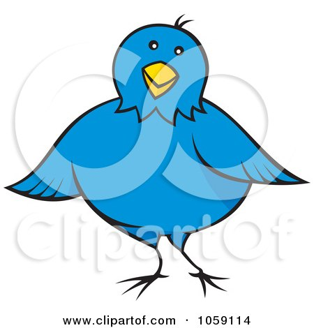 Royalty-Free Vector Clip Art Illustration of a Chubby Blue Bird by Any Vector