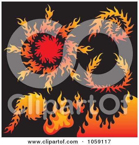 Royalty-Free Vector Clip Art Illustration of a Digital Collage Of Fire Designs by Any Vector
