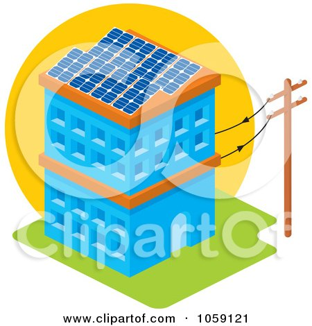 Royalty-Free Vector Clip Art Illustration of a Solar Powered Building With Panels On The Roof by Any Vector