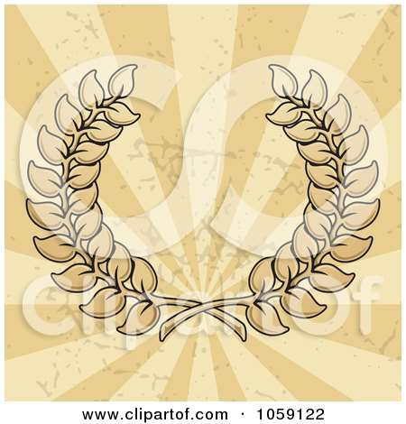 Royalty-Free Vector Clip Art Illustration of a Leafy Wreath Over Grungy Beige And Tan Rays by Any Vector