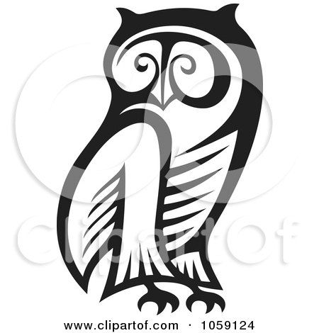 Royalty-Free Vector Clip Art Illustration of a Black And White Owl Outline by Any Vector