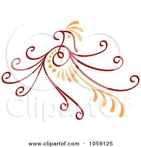 Royalty-Free Vector Clip Art Illustration of a Red And Orange Deco Bird Design by Any Vector
