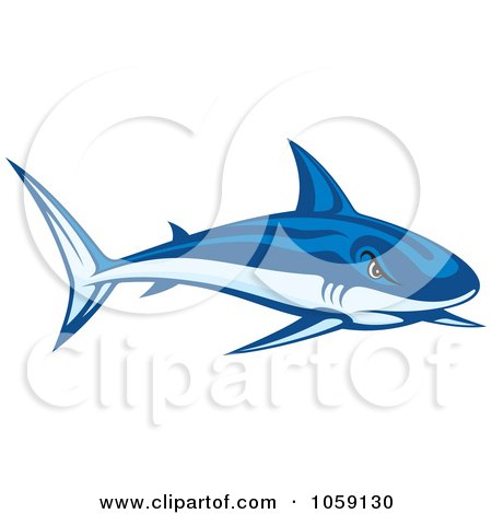 Royalty-Free Vector Clip Art Illustration of a Tough Blue Shark by Any Vector