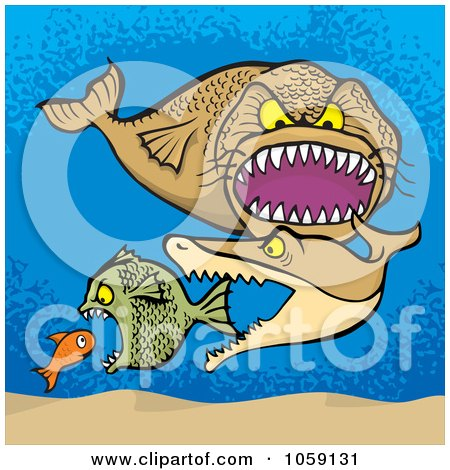 Royalty-Free Vector Clip Art Illustration of a Group Of Bigger Fish Eating Smaller Fish by Any Vector
