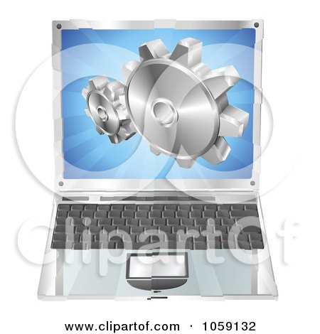 Royalty-Free Vector Clip Art Illustration of a 3d Laptop Gear Cogs Emerging From The Screen by AtStockIllustration