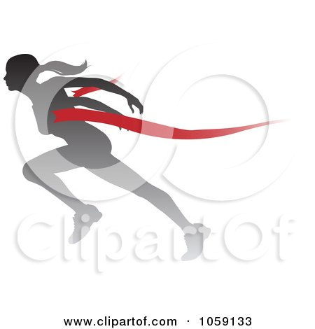 Royalty-Free Vector Clip Art Illustration of a Silhouetted Female Runner Breaking Through The Finish Line by AtStockIllustration