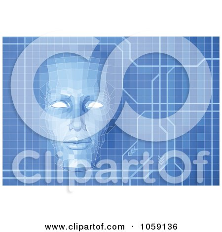 Royalty-Free CGI Clip Art Illustration of a Virtual Face Over A Blue Technology Screen by AtStockIllustration