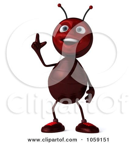 Royalty-Free CGI Clip Art Illustration of a 3d Ant Character Smiling And Pointing Upwards by Julos