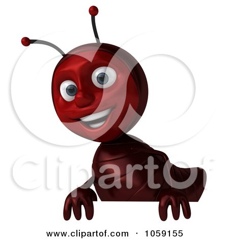 Royalty-Free CGI Clip Art Illustration of a 3d Ant Character Holding A Blank Sign Board - 2 by Julos
