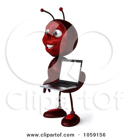 Royalty-Free CGI Clip Art Illustration of a 3d Ant Character Holding A With A Laptop - 1 by Julos