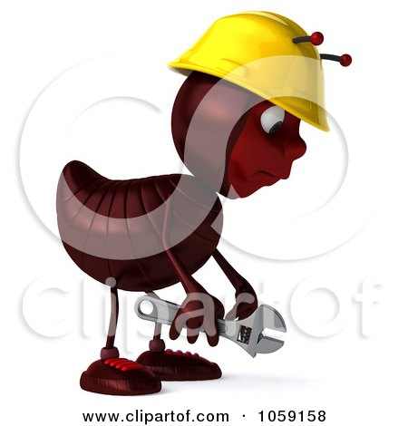 Royalty-Free CGI Clip Art Illustration of a 3d Worker Ant Facing Right And Pouting by Julos