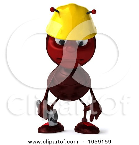 Royalty-Free CGI Clip Art Illustration of a 3d Worker Ant Facing Front And Pouting by Julos
