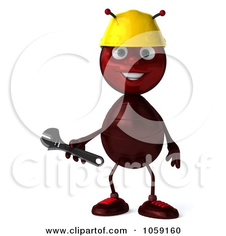 Royalty-Free CGI Clip Art Illustration of a 3d Worker Ant Smiling by Julos