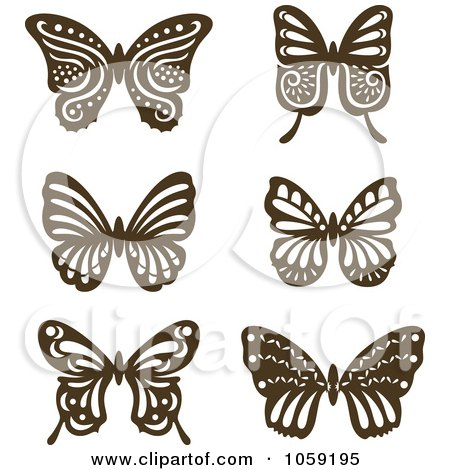 Royalty-Free Vector Clip Art Illustration of a Digital Collage Of Brown Vintage Butterflies by Cherie Reve
