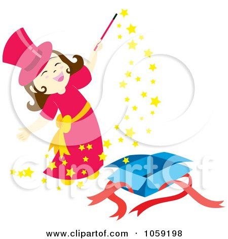 Royalty-Free Vector Clip Art Illustration of a Little Magician Girl Doing Magic by Cherie Reve
