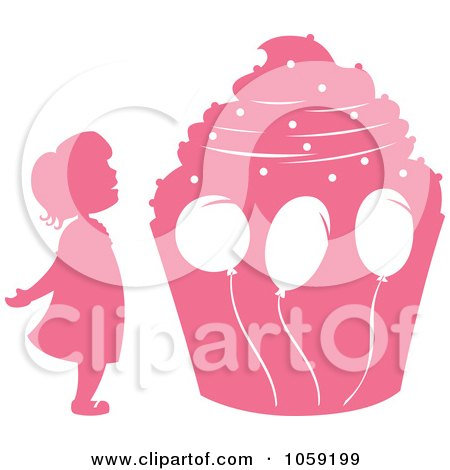 Royalty-Free Vector Clip Art Illustration of a Pink Silhouetted Birthday Girl And Giant Cupcake by Cherie Reve