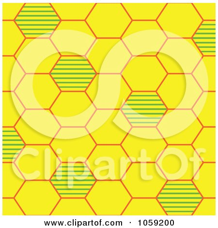 Royalty-Free Vector Clip Art Illustration of a Yellow And Green Bee Hive Background Pattern by Cherie Reve