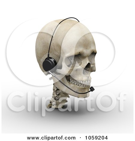 Royalty-Free CGI Clip Art Illustration of a 3d Skull Wearing A Headset by Michael Schmeling