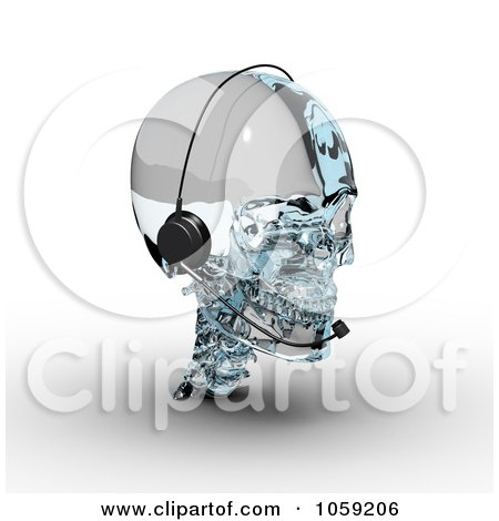 Royalty-Free CGI Clip Art Illustration of a 3d Glass Skull Wearing A Headset by Michael Schmeling