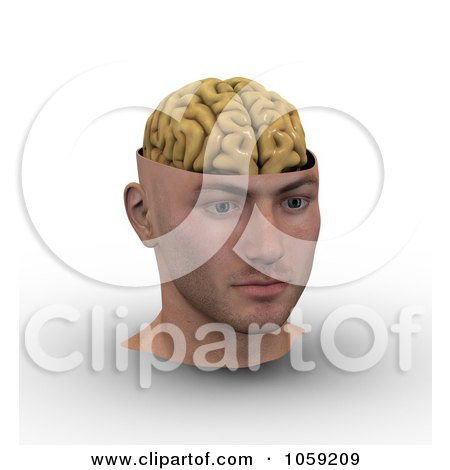 Royalty-Free CGI Clip Art Illustration of a 3d Male Head With Exposed Brain by Michael Schmeling