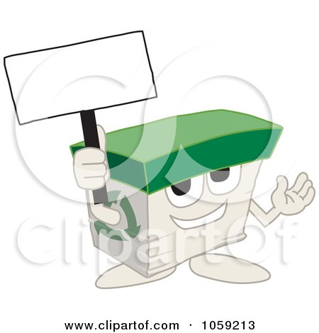 Royalty-Free Vector Clip Art Illustration of a Recycled Paper Box Character Holding A Blank Sign by Toons4Biz