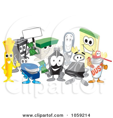 Royalty-Free Vector Clip Art Illustration of a Group Of Office Supply Characters by Toons4Biz