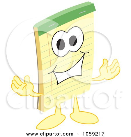 Royalty-Free Vector Clip Art Illustration of a Notepad Character Welcoming by Toons4Biz