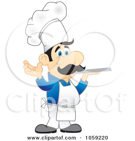 Royalty-Free Vector Clip Art Illustration of a Chef In A Blue Shirt, Holding A Platter by Toons4Biz