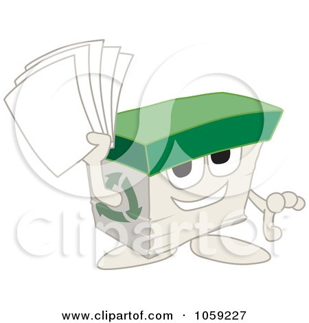 Royalty-Free Vector Clip Art Illustration of a Recycled Paper Box Character Holding Pages by Toons4Biz