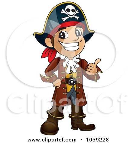 Royalty-Free Vector Clip Art Illustration of a Happy Pirate Holding A Thumb Up by Toons4Biz
