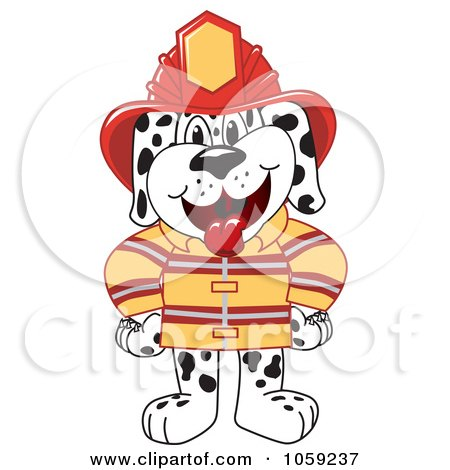 Royalty-Free Vector Clip Art Illustration of a Dalmatian Fireman by Toons4Biz