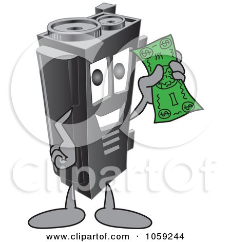 Royalty-Free Vector Clip Art Illustration of a Toner Ink Cartridge Character Holding Cash by Toons4Biz