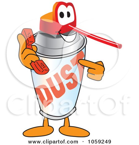 Royalty-Free Vector Clip Art Illustration of an Office Dusting Can Character Holding A Phone by Toons4Biz