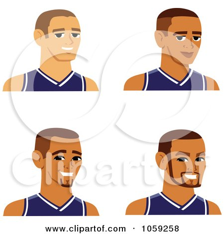 Royalty-Free Vector Clip Art Illustration of a Digital Collage Of Male Avatars Wearing Jerseys by Monica