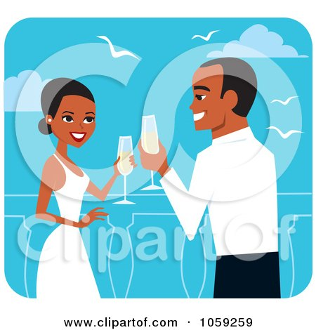 Royalty-Free Vector Clip Art Illustration of a Black Wedding Couple Toasting With Champagne by Monica