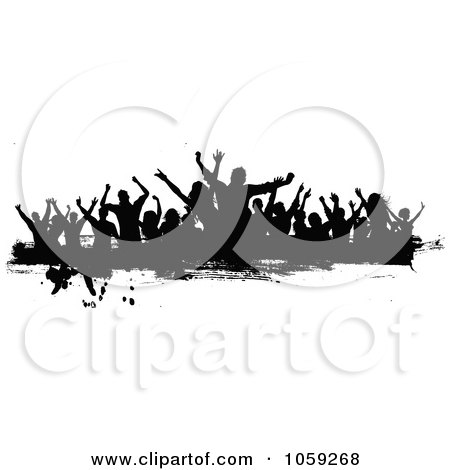 Royalty-Free Vector Clip Art Illustration of a Grungy Black And White Border Of Silhouetted Dancers - 3 by KJ Pargeter